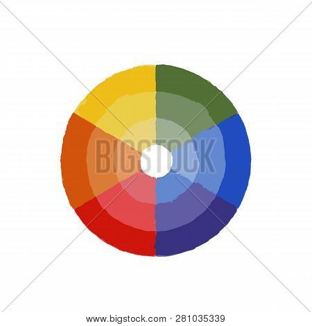 Color Wheel With Shade Of Colors. Vector Icon