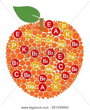 Vitamins And Minerals Of Apple. Infographics About Nutrients In Apple Fruit. Vector Illustration Abo