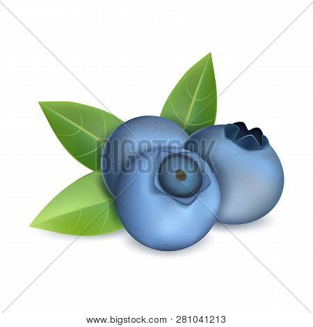 Blueberry Heap Icon. Realistic Illustration Of Blueberry Heap Vector Icon For Web Design Isolated On