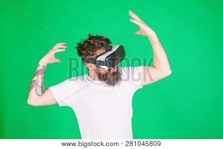 Hipster With Inspired Expression Exploring Vr With Modern Gadget. Vr Gadget Concept. Guy With Head M
