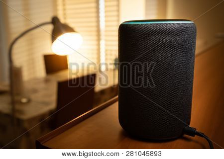 Barcelona, Spain. January 2019: Selective Focus On Amazon Echo Plus Smart Home Device Turning On A F