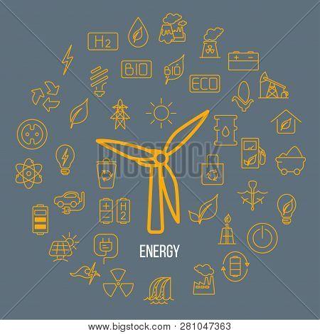 Line Style Vector Illustration Of Renewable Resources. Green Energy Symbols - Solar Panel, Wind Ener
