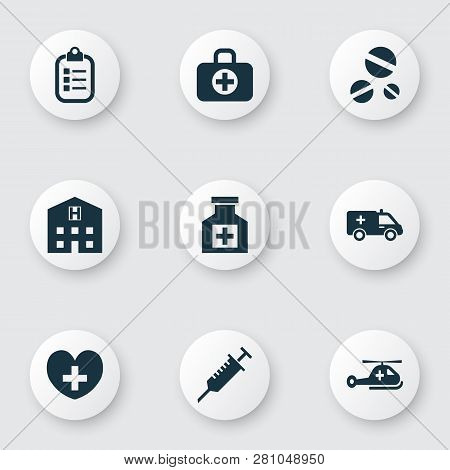 Medicine Icons Set With Helicopter, Stings, Drug And Other Mark Elements. Isolated Vector Illustrati