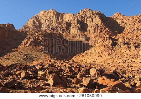Famous Mount Sinai (mount Horeb, Gabal Musa). Winter Morning View. Sacred Christian Place In Egypt,