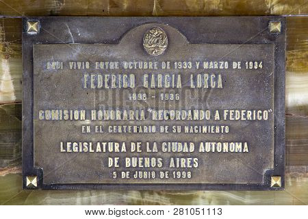 Buenos Aires, Argentina - January 19, 2018: Detail From House In Buenos Aires Where Federico Garcia