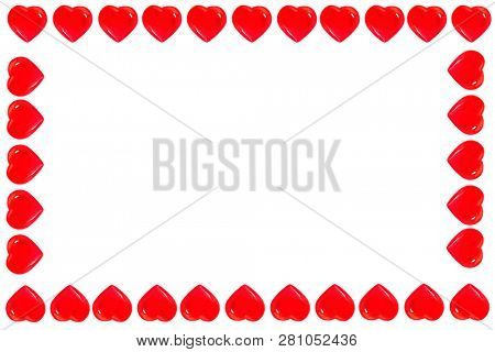 Valentines Day. Valentines day hearts isolated on white. Picture frame of red hearts. room for text. frame of hearts. valentine card.