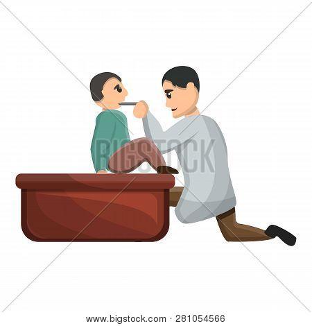Pediatrician Examine Child Icon. Cartoon Of Pediatrician Examine Child Vector Icon For Web Design Is