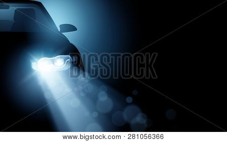 A Modern Car With Bright Led Headlights. Generic Driving Car Light Beams Vector Illustration Backgro
