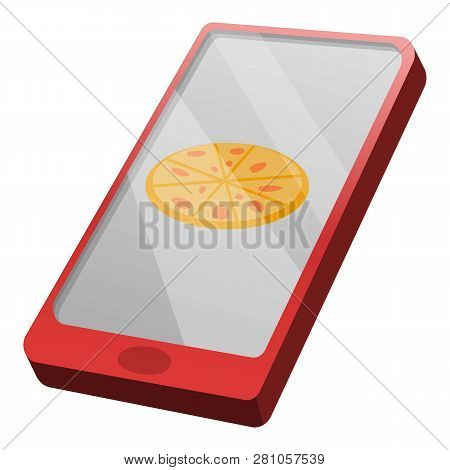 Buy Pizza Online Icon. Cartoon Of Buy Pizza Online Vector Icon For Web Design Isolated On White Back