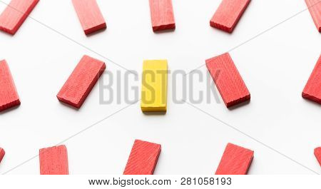 People Diversity And Struggle Of Fighting For Your The Right To Be Yourself. One Yellow Wooden Block