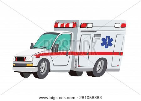 Vector Illustration Ambulance Car On White Background. Ambulance Auto Paramedic Emergency. Ambulance