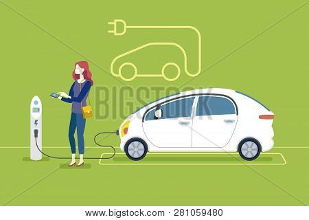 Woman Charging An Electric Car In A Charging Station. Flat Vector Illustration.