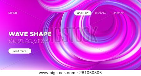 Pink Flow Brochure, Abstract Wave Background. Colorful Liquid Shape In Movement. Flow Of Vibrant Wav