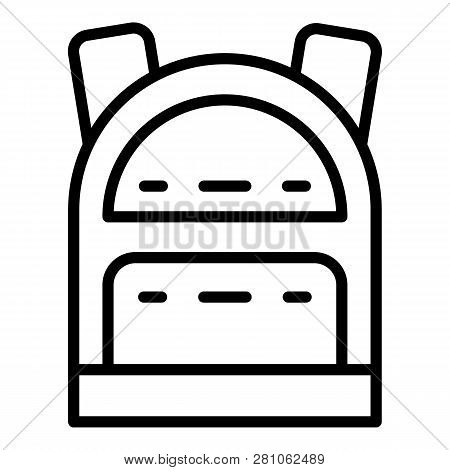 Tourism Backpack Icon. Outline Tourism Backpack Vector Icon For Web Design Isolated On White Backgro