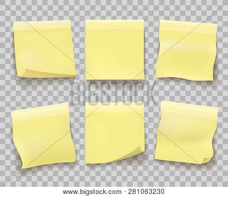 Yellow Memo Reminder Papers. Paper Sticky Note Pieces Isolated On Transparent, Office Yellow Noticeb