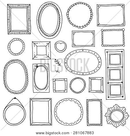 Hand Drawn Picture Frame. Doodle Square Oval Photo Frames And Scrapbook Scribble Borders Vector Sket