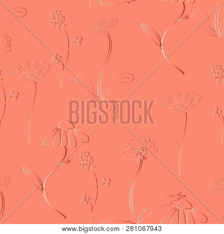 Seamles Pattern With Meadow Flower Like As Gold Embossion. Good Design For Textile, Wrapping Paper,