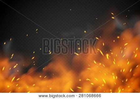 Smoke Fire Effect. Burning Embers Red Hot Metal Ignite Sparks Fiery Heat Transparent Smog Texture Is