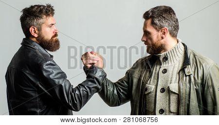 Strong Handshake. Friendship Of Brutal Guys. Leadership Concept. True Friendship Of Mature Friends.