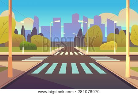 Cartoon Crosswalks. Street Road Crossing Highway Traffic Urban Landscape Building, Crosswalk Car, Pe