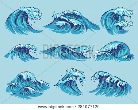 Hand Drawn Ocean Waves. Sketch Sea Tidal Blue Waves Tide Splash Hand Drawn Surfing Storm Wavy Water