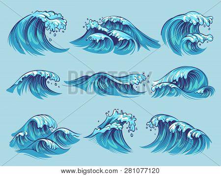 Hand Drawn Ocean Waves. Sketch Sea Tidal Blue Waves Tide Splash Hand Drawn Surfing Storm Wavy Water