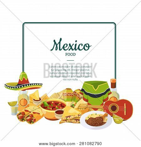 Vector Cartoon Mexican Food Below Frame With Place For Text Illustration. Mexican Food Taco And Nach