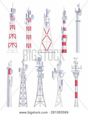 Communication Tower. Cellular Broadcasting Tv Wireless Radio Antena Satellite Construction Vector Pi