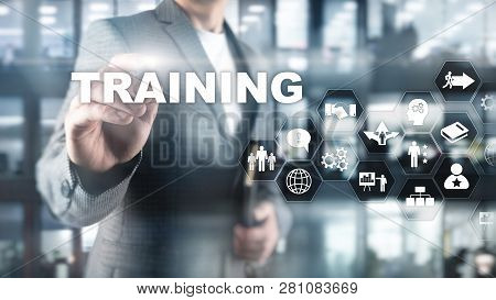 Business Training Concept. Training Webinar E-learning. Financial Technology And Communication Conce