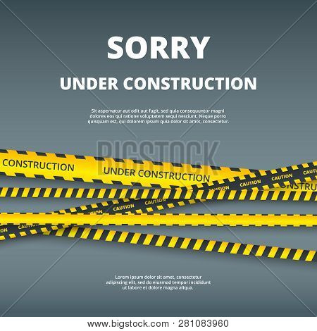 Under Construction Page. Web Site Design Template With Attention Danger Stripes Security Type Vector