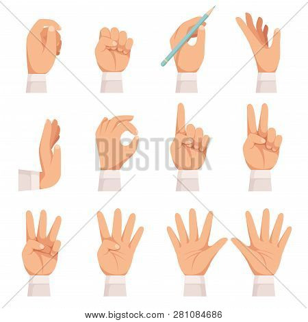 Hands Gesture. Human Palm And Fingers Touch Showing Pointing And Holding Taking Vector Cartoon Colle