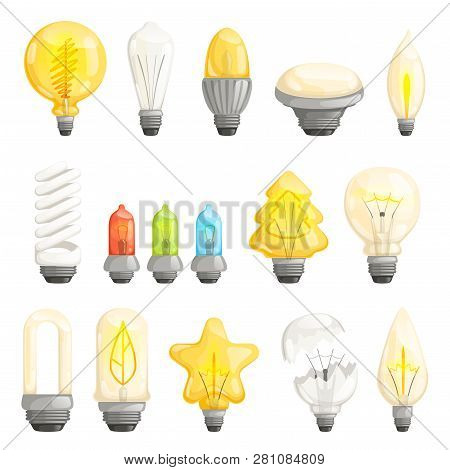 Light Bulbs. Modern Lamp Save Energy Fluorescent Lighted Halogen Vector Cartoon Pictures Collection.
