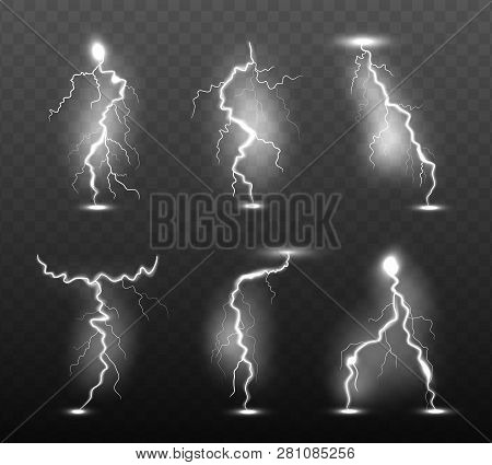 Night Lightning. Glow Stormy Weather Light Effects Power Energy Electricity Thunder Rain Strike In S