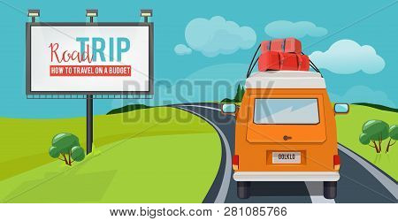 Road Trip. Adventure Concept With Vacation Travel Driving Car On Highway Vector Urban Landscape Cart