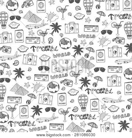 Travel Hand-draw Doodle Backround. Tourism And Summer Sketch With Travelling Elements. Vector Illust