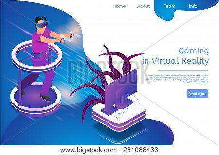 Isometric Banner Gaming In Virtual Reality In 3d. Vector Illustration Guy Playing Video Game Tv Usin