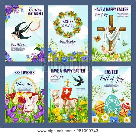 Happy Easter Greeting Cards Of Paschal Eggs, Jesus Crucifix Cross And Lamb With Christianity Flag. V
