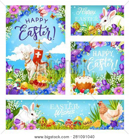 Happy Easter Greetings, Christian Religious Holiday. Vector Easter Hunt Eggs, Rabbit In Flowers And