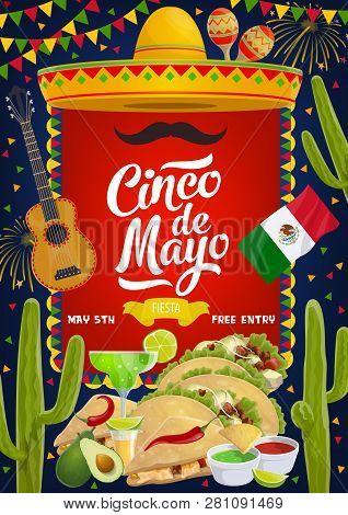 Cinco De Mayo Traditional Mexican Fiesta Party Celebration. Vector Sombrero And Mustache, Mexico Fla