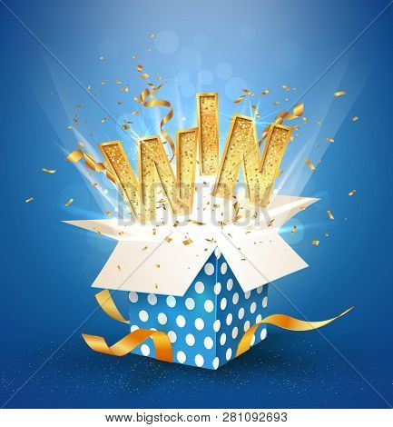 Win Gold Text. Open Textured Blue Box With Confetti Explosion Inside And Golden Win Word. Flying Par