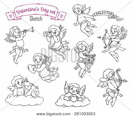Valentines Day Cupids Vector Sketches With Angels Or Cherubs Of Romantic Love Holiday. Amurs With He