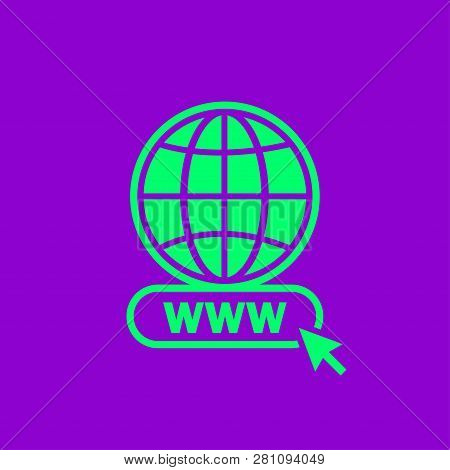 Www Icon In Modern Color. Web Site Icon. Www Icon With Hand Cursor In Flat Style - Vector