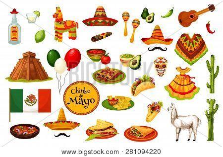 Cinco De Mayo Mexican Holiday Carnival Icons, Mexico Culture Symbols. Vector Mexican Flag, Tradition