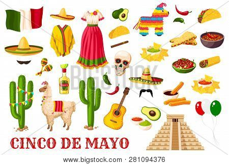 Cinco De Mayo Celebration Icons, Mexican Holiday Fiesta Traditional Symbols. Vector Mexico Flag Ball