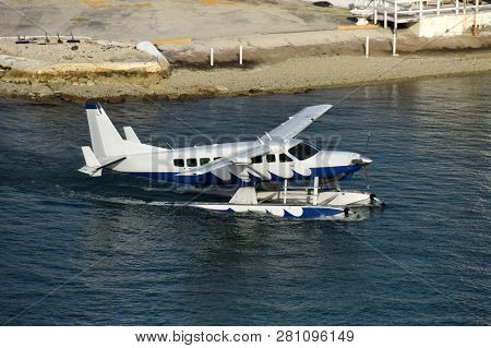 Seaplane Deaprting On A Charter From Miami To The Bahamas