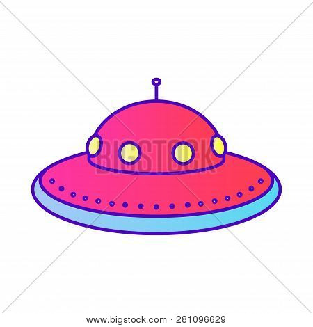 Vector Flying Saucer, Ufo, Spaceship Color Line Icon. Symbol And Sign Illustration Design. Isolated