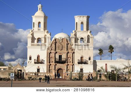 Tucson City, Arizona Usa - Dec 26, 2018: The Famous Mission San Xavier Del Bac Under A Dramatic Sky