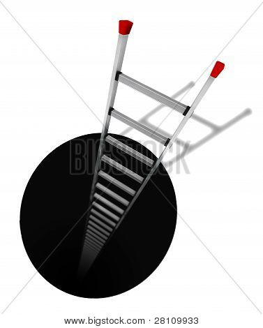A black hole with an aluminium ladder inside on a white background poster
