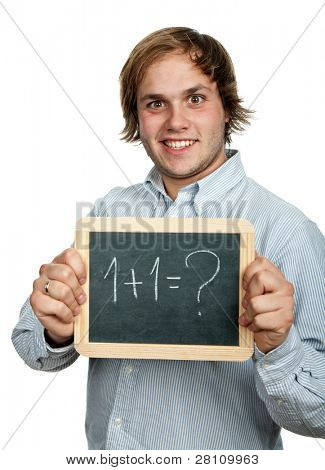 young casual man with a blackboard, isolates on white
