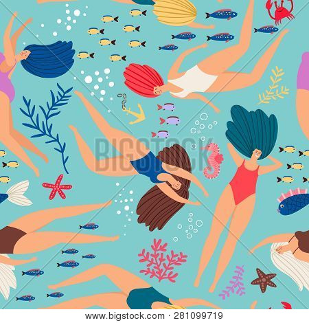 Swimmers Girls Underwater Pattern With Color Fish. Vector Seamless Swimmer Girl Pattern In Sea Illus